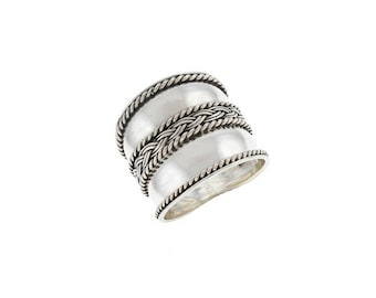 Cigar Band Ring Sterling Silver Balinese Bali Jewelry