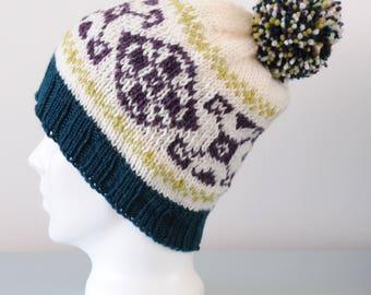 Cream Fair Isle Beanie Hat - Green Purple Modern Design Knitted Merino Wool Pom Pom Winter Accessory Gift for Her by Emma Dickie Design