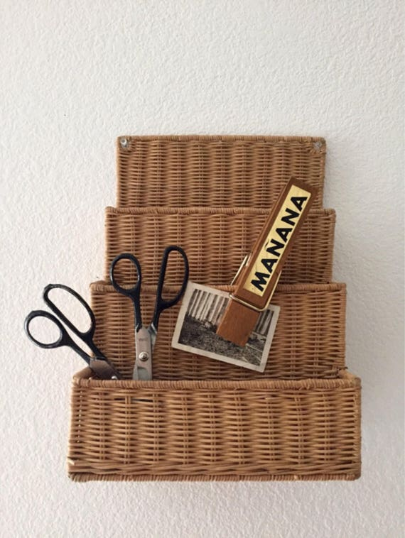 vintage hanging wicker office file storage