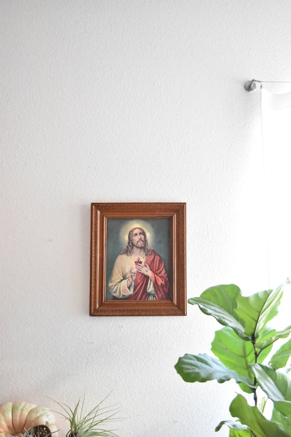 large solid wood framed print of the sacred heart of jesus / catholic / christian / religious