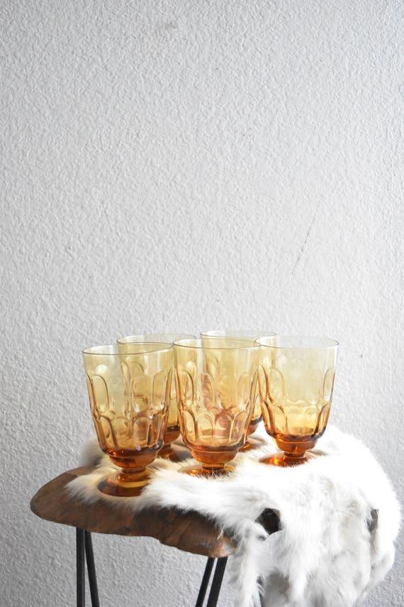 amber glass champagne desert ice cream wine glass goblets / set of 5 / fostoria