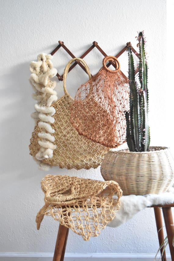 woven straw netting boho hand bag / beach bag