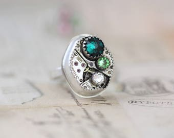 Sterling Silver Steampunk Ring Custom Made Mothers Ring Size 4 5 6 7 8 9 10 11 Steampunk Jewelry Emerald Birthstone Ring Watch Ring Unique