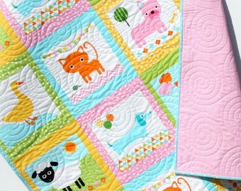 Animal Baby Quilt, Patchwork, Baby Girl Blanket, Dachshund Dog Cat Panda Sheep Fox, Light Pink Aqua Ann Kelle Zoologie, Toddler Bed Blanket