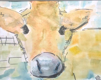 Original Watercolour and ink Calf Illustration A4 Size