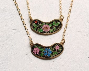 Enamel Folk Necklace ... Vintage Flower Pink Blue Black Enamel Gold 1970s