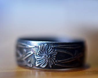 Oxidized Silver Art Nouveau Ring, Engravable Wide Silver Wedding Band for Men, Custom Engraving