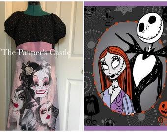 Disney Nightmare Before Christmas Dress/Jack Skellington/Sally/Maxi Dress/Disney Bounding/Costume/Adult/Misses/Women's /Casual Cotton Dress