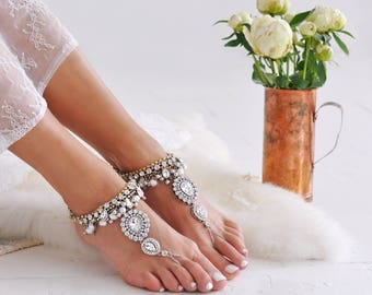 Barefoot Sandals/Beach Wedding/Bridal Foot Jewelry/Barefoot Sandals Woman/Anklet/Ankle Bracelet/Bridal Beach Shoes/ AOLANI  design