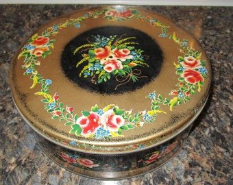 Beautiful Antique Round Cookie Tin Black with Roses