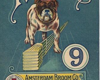 Vintage Amsterdam Broom Co. Rover No. 9 Original Lithograph Broom Label, 1920s
