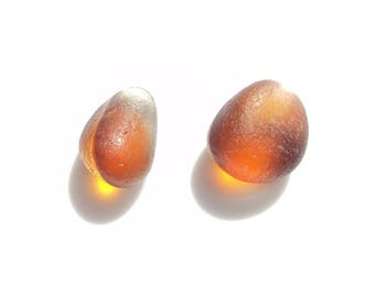 Collectors Seaglass -  2x Amber Flip-Flop Multies JulyV02 - from Seaham beach,  UK