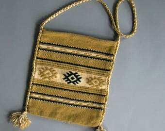 Vintage 1960's Grecian Woven Wool Serape Tote / Tribal Greek Hippie / Large Shoulder Bag / Made in Greece