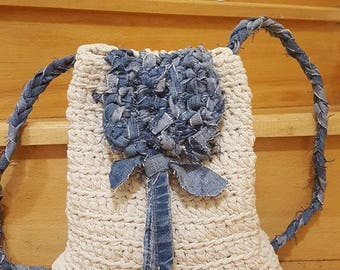 Handmade crochet oatmeal beije natural white  backpack with recycle jeans backhandles and crochet top - without any seams
