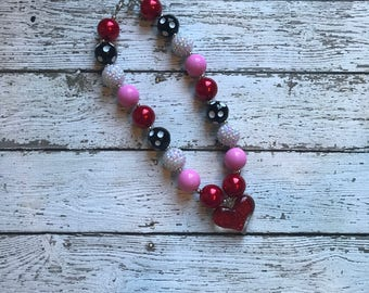 Girls Heart Chunky Necklace, Girls Bubblegum Chunky Necklace, Heart pink Chunky Necklace Valentines Day Necklace