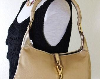 Vintage GUCCI Golden Canvas & Leather Jackie O Flat Bamboo Handle Hobo Shoulder Bag