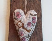 primitive punch needle Folk Art Key heart hanging pinkeep