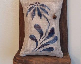 Primitive cross stitch sample cupboard Flower tuck/pinkeep small pillow Priscilla's Pocket Stoneware II design #4
