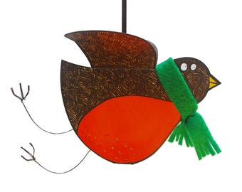 Robin Cards - 3D handmade hanging card, bird card, Robin Red Breast card, robin greeting card, Robin birthday card, Robin Christmas card