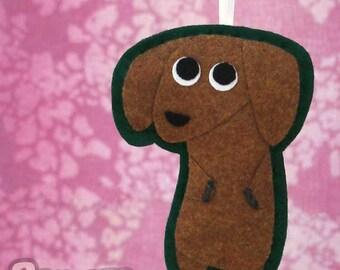 Dachshund Gift - Felt Dog Holiday Ornament -  Mitzi the Dachshund