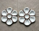 A Pair of Antique Oyster Plates -French Majolica Style - GentlemanlyPursuits