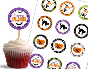 Halloween Cupcake Toppers, Boo Printable Cupcake Toppers, Halloween Theme Party Decorations - Instant Download - DP459