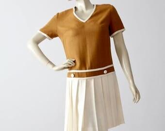 vintage Bobbie Brooks dress, wool knit drop waist pleated dress
