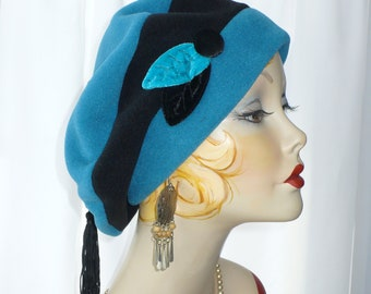 Turquoise and Black Fleece Beret with Handmade Velvet Leaves, Button and Tassel