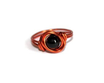 Halloween Jewelry - Black Onyx and Orange Ring - Trick Or Treat - Costumes - Custom Size