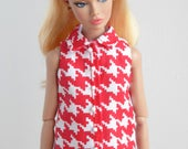 Sleeveless hounds-tooth shirt for Poppy Parker / Model Muse, Made to Move or Pivotal Barbie