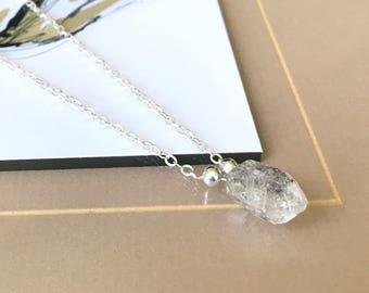 Silver Rough Herkimer Diamond Necklace