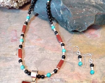 SET: CARNELIAN, ONYX & Turquoise, Sterling Silver Necklace and Earring Set