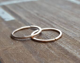 20g Rose Gold Filled Hoop Earrings, Endless, Cartilage, Lobe, Helix, Artisan Jewelry, 7mm, 8mm, 9mm, 10mm, 12mm - 14k GF
