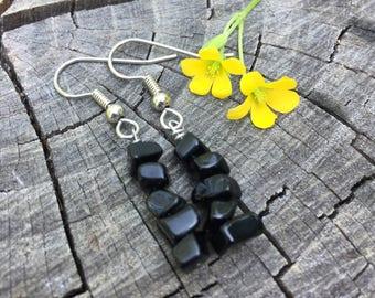 Black Obsidian Gemstone Chips . Earrings