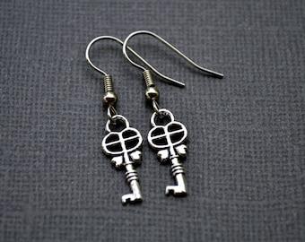 Small Silver Keys . Earrings