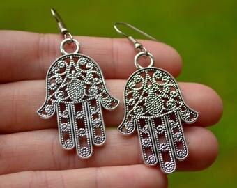 Silver Hamsa Palms . Large Fatima Hands . Earrings