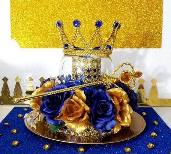 Royal Blue Baby Shower Theme: Crown Candle Light Royal Prince Baby Shower Centerpiece