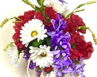 "Floral Arrangement Floral Centerpiece Red Poppy White Shasta Daisy Purple Wysteria  XXL 22"" Tall Poppy and Daisy Pitcher Vase"