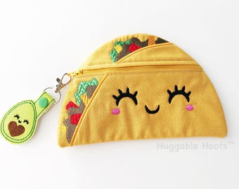 Taco Purse - Kawaii Makeup Bag - Childs Pencil Case - Taco Coin Purse - Food Bag - Back to School Bag - Personalized Pouch - Kids Zipper Bag