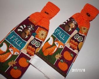 Fall kitchen towel set, crochet top towels, button top dish towel, Autumn decor