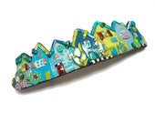 RESERVED LISTING Little houses hair Barrette, Blue Green Village hair clip, handmade polymer clay French barrette, Made in France clip 70mm