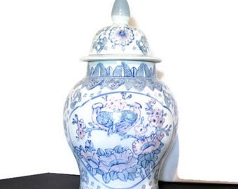 "Extra Large Asian Pastel Love Birds & Floral Porcelain Ginger Jar, Chinoiserie 18"" Tall Vintage Floor Temple Jar ... Cottage Chic Decor"