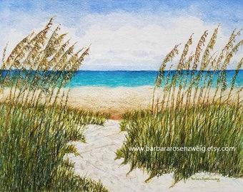 Beach Print, Beach Painting, Beach Watercolor, Coastal Art, Beach Wall Art, Nautical Art, Beach Home Decor, Beach Gift, Beach Paradise Art