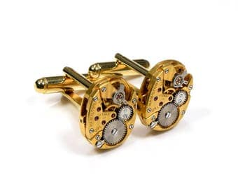 STRIPED Steampunk WEDDING Cuff Links Mens SOLDERED Groom Fancy Gold Hamilton Watch CuffLinks Steampunk Wedding Jewelry Victorian Curiosities