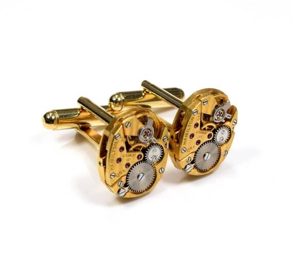 STRIPED Steampunk WEDDING Cuff Links Mens SOLDERED Groom Fancy Gold Hamilton Watch CuffLinks Steampunk Wedding Jewelry Victorian Curiosities