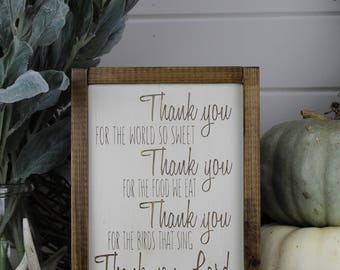 Thank You Lord - Prayer Sign - Kitchen Sign - Wood Sign - for Rustic - Farmhouse - Boho - Primitive Styles