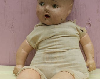 Vintage Spooky Doll, Halloween,  Composition Head, Legs and Arms, Cloth Body, Creepy, Crackled and Worn