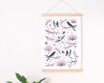 pink nursery art print, pink nursery print, pink floral nursery, pink floral nursery print, spring print, cherry tree print, pink wall decor