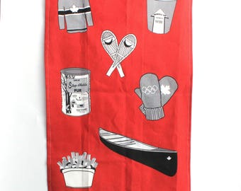 Canadian Tea Towel: Red Cotton Linnen -Kitchen towel -Dishcloth