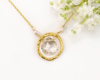 Clear Quartz Gold Necklace, Bridal Jewelry, Tiny Freshwater Pearls, Gift for Bridesmaids, Hammered Circle Necklace, Gift Idea for Girlfriend